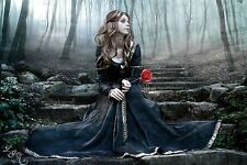 "Fantasy Gothic Girl with Red Rose Large Canvas Print  A1 30"" x 20"""