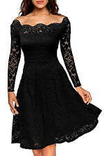 New Classy Black Floral Lace Off Shoulder Long Sleeve Skater Dress 8 10 12 14