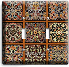 TUSCAN KITCHEN TILE PATTERN PRINT DOUBLE LIGHT SWITCH WALL PLATE COVER HOME ART