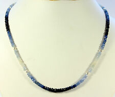 SAPHIRKETTE  edelstein kette Fecettierte Rondell Saphir blau weiße saphire   .