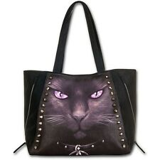 SPIRAL Tote ShoppIng Hand Bag BLACK CAT Goth occult PENTAGRAM Alternative STUDS