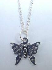 Tibetan Silver PRETTY BUTTERFLY Pendant with Necklace- Christmas/Birthday Gift.