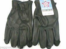 #700 Large USA Black Leather Gloves MOTORCYCLE Police North Star Glove Goatskin