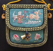 Antique Chinese Embroidered Silk Pouch Coin Scent Purse Tigers Eye Silver NR WOW