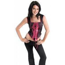 Black & Pink Faux Corset Gothic Witch Charmed Vampire Fancy Dress Halloween