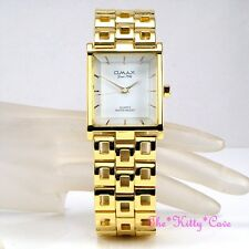 OMAX Designer Waterproof Seiko Movt Gold PL Square White Gents Mens Watch HBK837