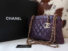 rare! authentic chanel purple lamb messenger bag