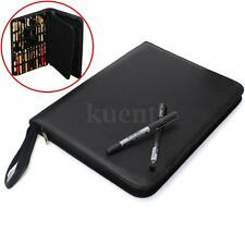 Luxury Black Roller Fountain Pen PU Leather Case Storage Holder For 48 Pens