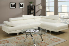 Cream white sectional sofa leather sofa couch 2 Pc Modern Living room set