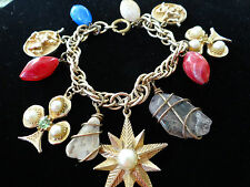 Vintage Charm Bracelet Gold tone Charms Knight Armour Star Club  Faux Pearl