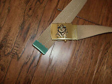 US MILITARY STYLE KHAKI WEB BELT WITH MARINE CORPS BULL DOG BRASS BUCKLE