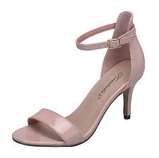 New Womens Open Toe Ankle Strap Single Sole Stiletto Med Low Heel Sandal Pump US