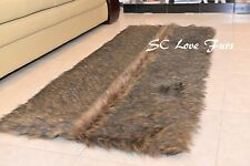 """58x36""""' Black Tip Wolf Rectangle Shaggy Fur Rugs Holiday Christmas Home Comforts"""