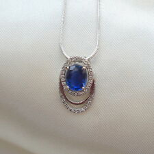 2+ cts Himalayan Kyanite & Diamond White Gold Pendant