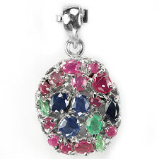 GENUINE AAA MULTI COLOR EMERALD RUBY SAPPHIRE STERLING 925 SILVER PENDANT