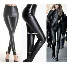 Shiny Skinny Stretch High Waisted PU Faux Leather Long FULL Leggings Pants Tight