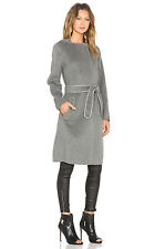 VINCE Gray Grey Melange Belted Wool Car Coat Knee Length Large L $695