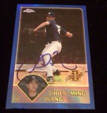 CHIEN-MING WANG 2003 TOPPS CHROME ROOKIE Autographed Signed Baseball Card T245