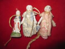 3 Antique Miniature Bisque Porcelain Dolls 2 Wire-Jointed Arms