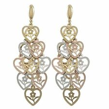 Tri Color Gold Plated Flower Hearts Womens Chandelier Earrings