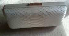 Coach NWT 51550  White Ivory Madison Pinnacle Minaudiere Embossed Python Clutch