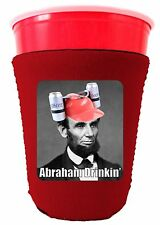 Coolie Junction Abraham Drinkin' Funny Solo Cup Coolie, Neoprene Cozy