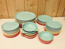HUGE LOT Vintage 63 Pc MELAMINE MELMAC PLATES BOWLS Speckled