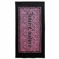 NEW! Juicy Couture Beach Bath Towel SOFT Cotton Terry & Velour Pink Black Animal