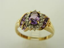 LOVELY  14K YELLOW GOLD  RING WITH AMETHYST AND WHITE  CZ   SIZE 9 #0753