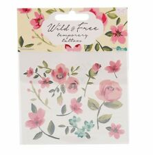 Floral Temporary tattoo transfers: 'Wild & Free' flowers