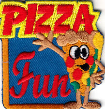 """PIZZA FUN"" - Iron On Embroidered Patch - Food, Entertainment, Show, Movies"