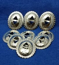 10 Small Oval Conchos Country Western style  Bright Metal