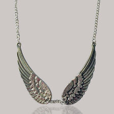 1pc Women Lady Retro Alloy Angel Wings Pendant Necklace Sweater Chain  Jewelry