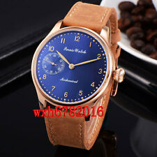 44mm Parnis Rose gold Case Blue dial Mechanical Hand-winding 6497 mens Watch 204