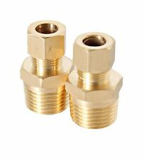 """(2) 3/8"""" COMP x 1/2"""" MIP Brass Reducer Compression Fitting Male Union Lead Free"""