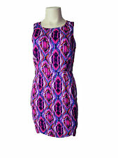 Ikat Print Lined Cotton Sleeveless Cocktail Multi Coloured Shift Dress Size 8-10