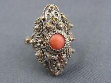 schöner alter Silber Ring filigran mit Koralle