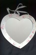 Shabby chic cream and floral heart shaped hanging mirror with attached ribbon