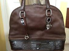Ladies Brown Leather And Croc Embossed Brighton Shoulder Bag