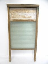 Antique Old Used Wood Framed Glass Laundry Washboard Clothes Laundry Rack Tool