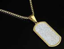 "30""Men Stainless Steel Bling Iced Out Gold CZ Dog Tag Pendant Box Chain Necklace"