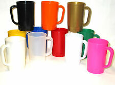 30 1 Pint Plastic Beer Mugs Mix of Colors, Mfg in Usa, Lead Free Dishwasher Safe