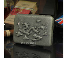 Dragon Raised Antique Silver Pocket Cigarette Case Tobacco Storage Box Holder