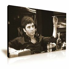 Scarface Tony Montana Canvas Wall Art Picture Print 76x50cm Sepia Color