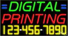 """NEW """"DIGITAL PRINTING"""" &YOUR PHONE NUMBER 37x20 NEON SIGN W/CUSTOM OPTIONS 15063"""