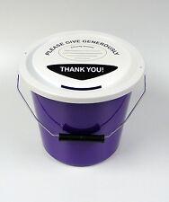 Violet Humanitaire Argent Collection Seau avec Couvercle & étiquette - de fonds