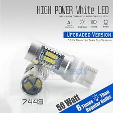 2X 7440 1300 Lumens 50W White Backup Reverse High power LED Light Bulbs