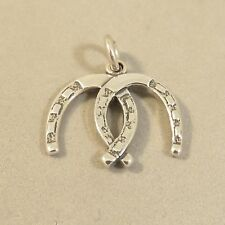 .925 Sterling Silver 3-D 2 LINKED HORSESHOES CHARM NEW Horse Shoe Tack 925 HS33