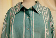 Woman Within Aqua Variable Stripe Long Sleeves Pullover Tunic Blouse Sz 3X Plus