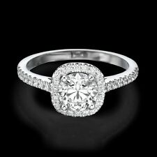 1.00 CT D/SI1 Round Cut Diamond Engagement Ring 14K White Gold Enhanced